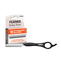 Feather Razor Handle, Replacement Blades 10 Count