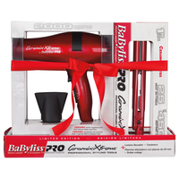 BaBylissPRO Xtreme Red Dryer and Iron Holiday Set