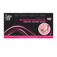 Salon Care Clear Vinyl Powder-Free Medium Gloves - 100 Count