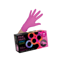 Pink Paws Nitrile Gloves Medium 100 Count