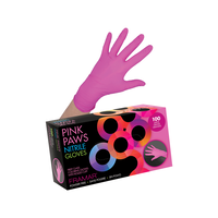 Pink Paws Nitrile Gloves - Large 100 Count