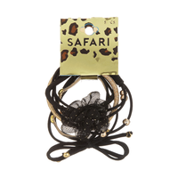 Elastic Hair Ties Black & Gold with Flowers - 5 Piece