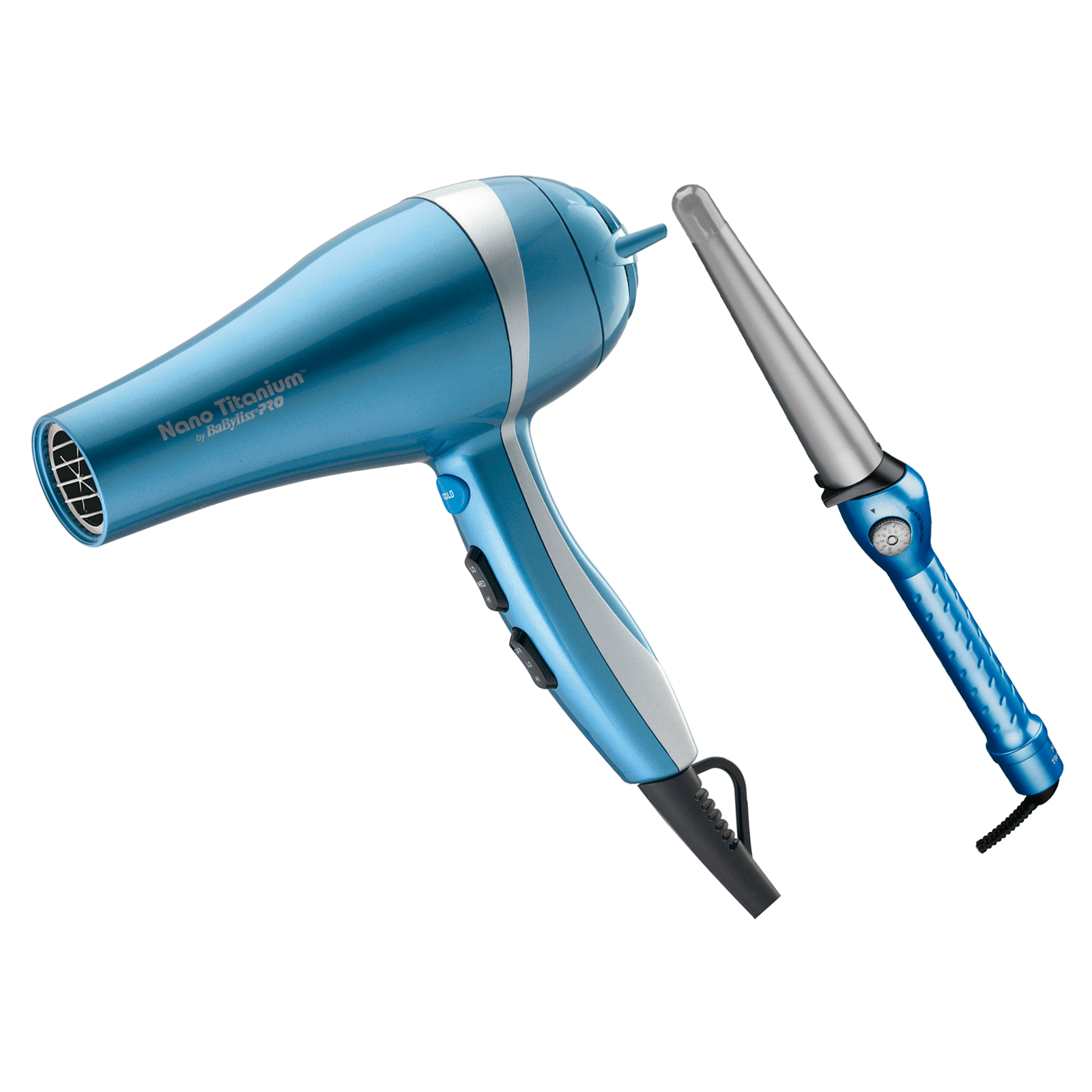 BaBylissPRO Nano Titanium Dryer, Tapered Barrel Iron